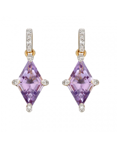 Elements Gold Amethyst and Diamond Kite Shaped Drop Earrings