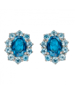 Elements Gold Blue Topaz Stud Earrings 9ct White Gold