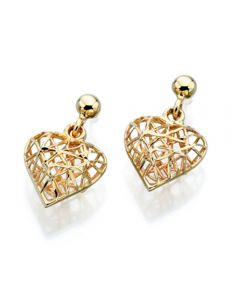 Elements Gold Caged Heart Drop Earrings