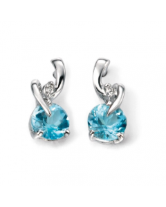 Elements Gold Round Diamond and Blue Topaz Drop Earrings