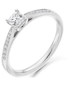 9ct White Gold 0.39ct Princess Cut Diamond Solitaire Ring