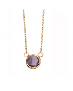 Elements Gold 9ct Yellow Gold Amethyst Bezel Necklace