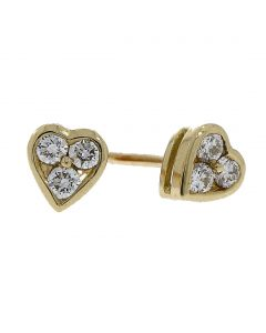 Nettletons Jewellers 0.25ct Diamond And Gold Heart Earrings