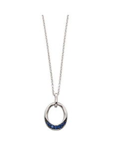 Elements Gold Sapphire Oval 9ct White Gold Necklace