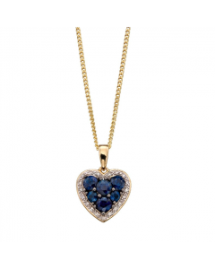 Elements Gold Diamond and Sapphire 9ct Yellow Gold Necklace