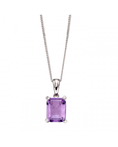 Elements Gold 9ct White Gold Amethyst Rectangle Necklace