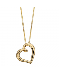 Elements Gold 9ct Yellow Gold Open Heart Necklace