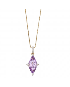 Elements Gold Amethyst and Diamond Kite Shaped Necklace