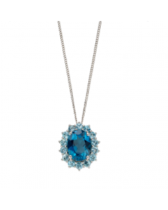 Elements Gold Blue Topaz 9ct White Gold Necklace