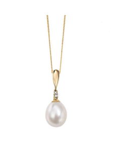 Elements Gold Yellow Gold Freshwater Pearl and Diamond Necklace