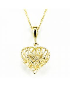 Elements Gold Caged Heart Shaped Necklace