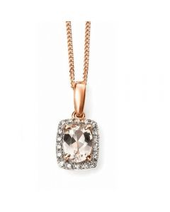 Elements Gold Rose Gold Morganite and Diamond Necklace