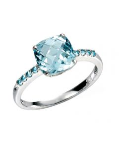 Elements Gold Sky Blue Topaz 9ct White Gold Ring