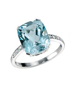 Elements Gold Sky Blue Topaz and Diamond Ring