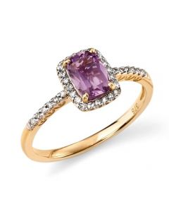 Elements Gold Amethyst and Diamond gold ring