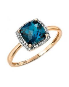 Elements Gold London Blue Topaz and Diamond Halo Ring