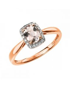 Elements Gold Morganite and Diamond Rose Gold Halo Ring