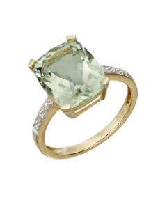 Elements Gold Green Amethyst and Diamond Ring