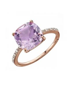 Elements Gold Pink Amethyst Rose Gold Ring With Diamonds