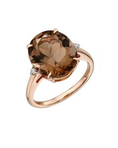 Elements Gold Smokey Quartz Rose Gold Ring