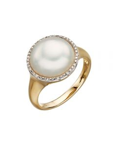 Elements Gold Mabe Pearl and Diamond Ring