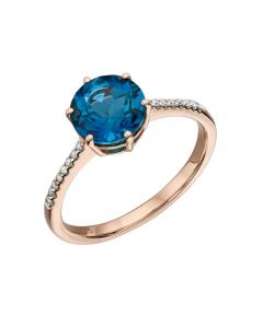Elements Gold London Blue Topaz and Diamond Ring