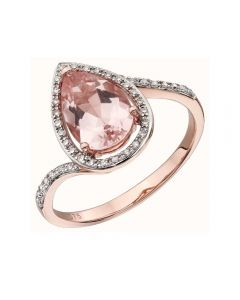 Elements Gold Morganite and Diamonds Teardrop Ring