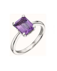 Elements Gold 9ct White Gold Amethyst Rectangle Ring