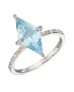 Elements Gold Kite Shaped Blue Topaz and Diamond Ring