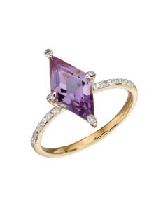 Elements Gold Amethyst and Diamond Kite Shaped Ring
