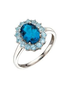 Elements Gold Oval Shape Blue Topaz 9ct White Gold Ring