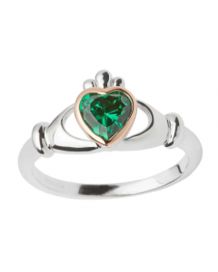 House of Lor Claddagh Sterling Silver and Rare Irish Gold Green Cubic Zirconia Ring