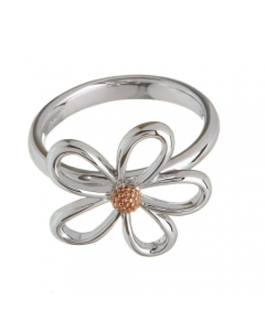 House of Lor Sterling Silver and Rare Irish Gold Petal Ring