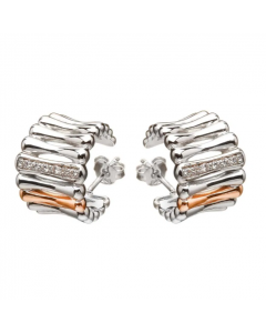 House of Lor Cubic Zirconia Silver Bamboo Huggie Earrings