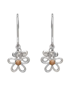 House of Lor Sterling Silver and Rare Irish Gold Petal Drop Earrings