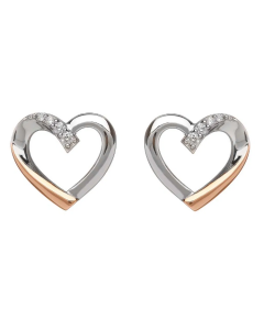 House of Lor Silver and Irish Rose Gold Heart Stud Earrings