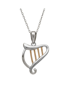 House of Lor Silver and Irish Gold Harp Necklace