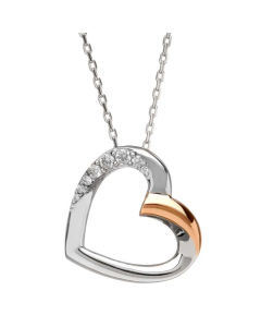 House of Lor Silver and Irish Rose Gold Heart Slider Necklace
