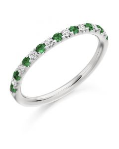 18ct White Gold Emerald and Diamond 0.35ct Half Eternity Ring