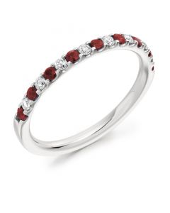 18ct White Gold Ruby & Diamond 0.38ct Eternity Ring