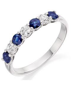 18ct White Gold 0.61ct Sapphire and Diamond Half Eternity Ring