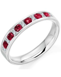 gemex ruby and diamond half eternity ring
