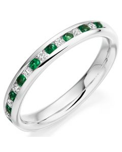 18ct White Gold Emerald and Diamond 0.29ct Eternity Ring