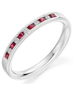 Gemex ring with ruby and brilliant cut diamond