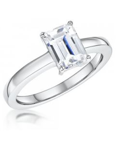 Jools by Jenny Brown Emerald Cut Cubic Zirconia Silver Solitaire Ring