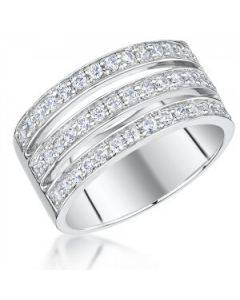 Jools by Jenny Brown Triple Row Cubic Zirconia Ring