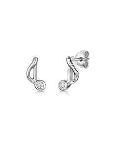 Jools Silver Music Note Cubic Zirconia Stud Earrings
