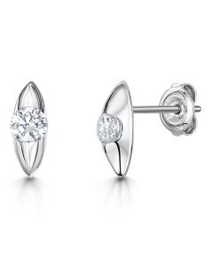 Jools By Jenny Brown Sterling Silver Marquise Shaped Stud Earrings