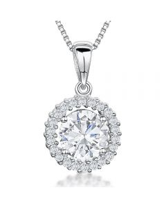 Jools By Jenny Brown Sterling Silver Pendant - Round Cubic Zirconia Stone With Pave Surround