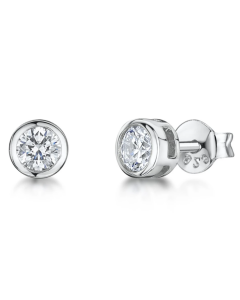 Jools By Jenny Brown 5mm Cubic Zirconia Brilliant Rub Over Stud Earrings